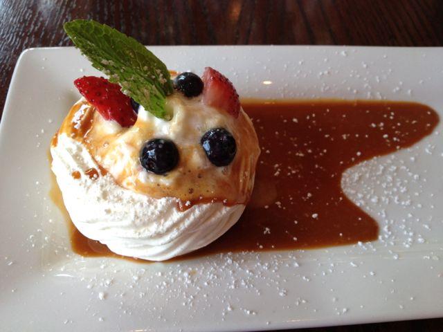Fourth Course: Meringue with fruit, sweet cream, and cajeta caramel sauce