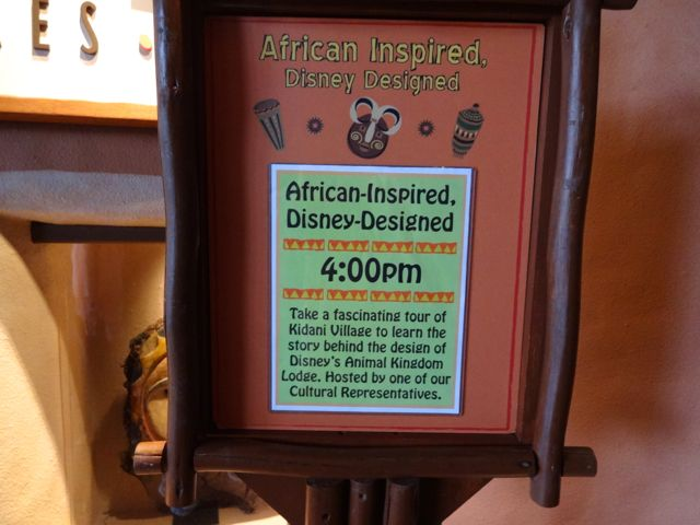 This free resort tour begins at 4:00 pm every day and leaves from the lobby of Kidani Village, right outside of Johari Treasures (lobby shop)