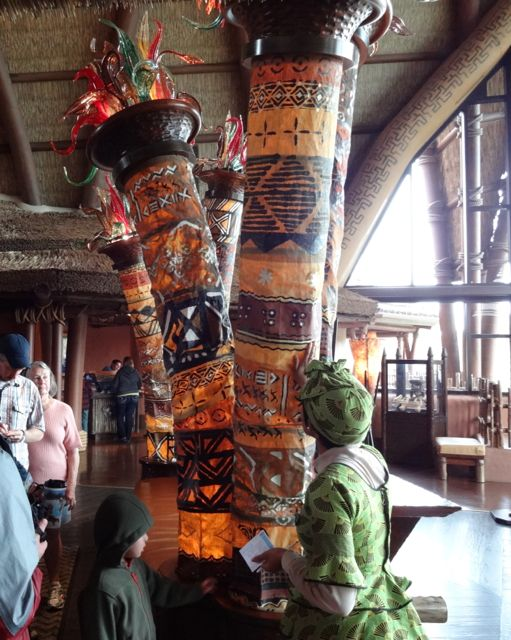 These columns are covered in Kente cloth, the designs have meaning known only to the individual who creates them (note, these don't look like the kente cloths usually seen)