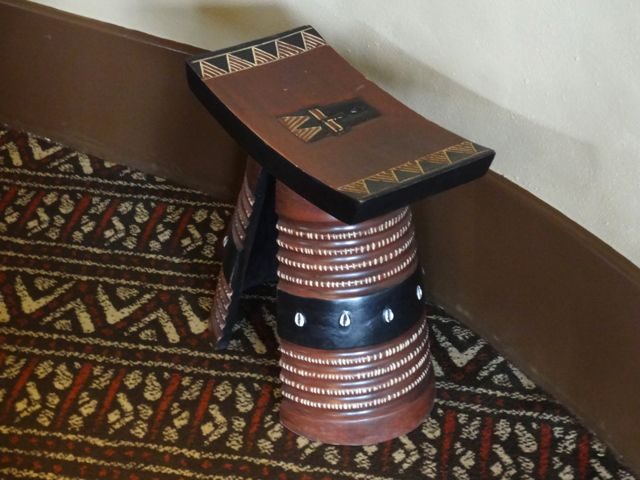 There are two of these stools in the King's Room, only men sit on the stools, women sit on the floor - all about showing respect for the king