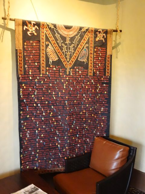 ... there are two Family Hangings, they contain the names of the first families to stay at Kidani Village, they are thus honored in the King's Room