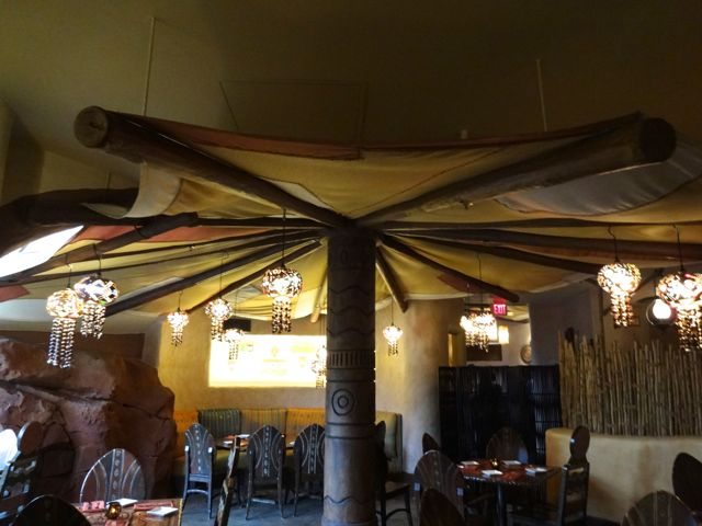 This area of the dining room is covered by a tent... It is a covering used on ships that transport spices, it keeps the sun and rain off of the sailors