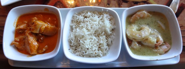 Entree Service: Butter Chicken, Basmati Rice with Coriander Seeds, Green Curry Shrimp
