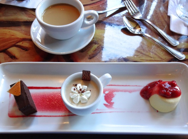 Dessert Service: Chocolate Cake, Chai seasoned Pot de Creme, Tropical Fruit Kofi topped with Macerated Strawberries