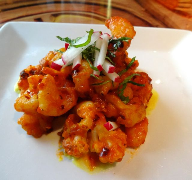 Spicy Garlic Shrimp with Cauliflower (plus mint and radish)