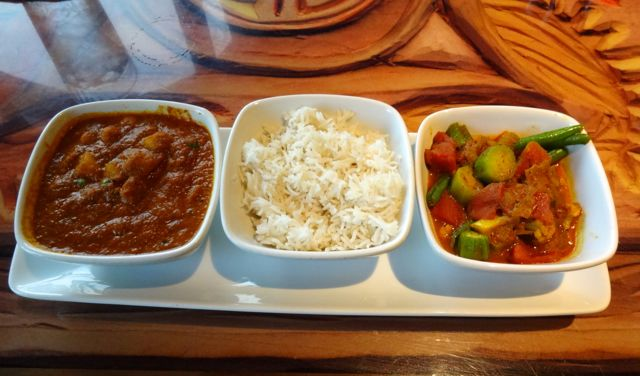 Sanaa Vegetarian Sampler - Spicy Peas, chickpeas, and potatoes; Basmati rice, Vindaloo-style vegetables