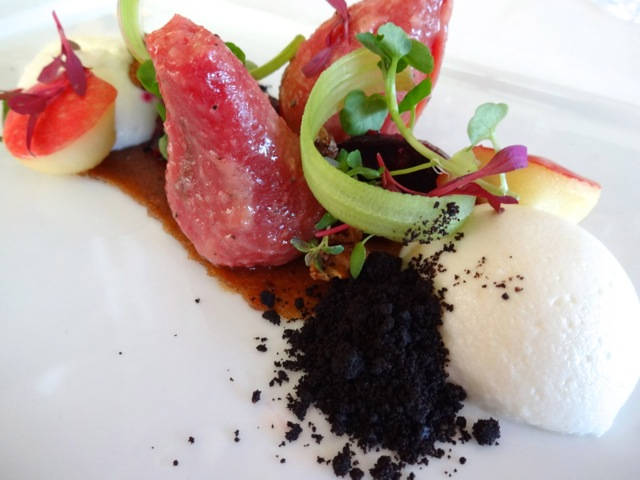 "Beet Salad with Charred Leek ""Soil"""