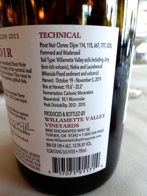 Details on Whole Cluster Pinot Noir label