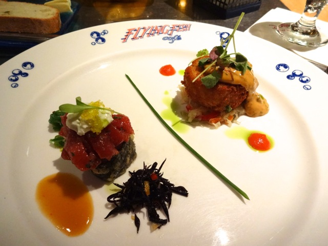 "Appetizer Sampler: Yellowfin Tuna Tartare & Crispy Tempura Tuna-Vegetable Sushi Roll and Our Signature Flying Fish Cafe ""Crispy Maine Coast Jonah Crab Cake"""
