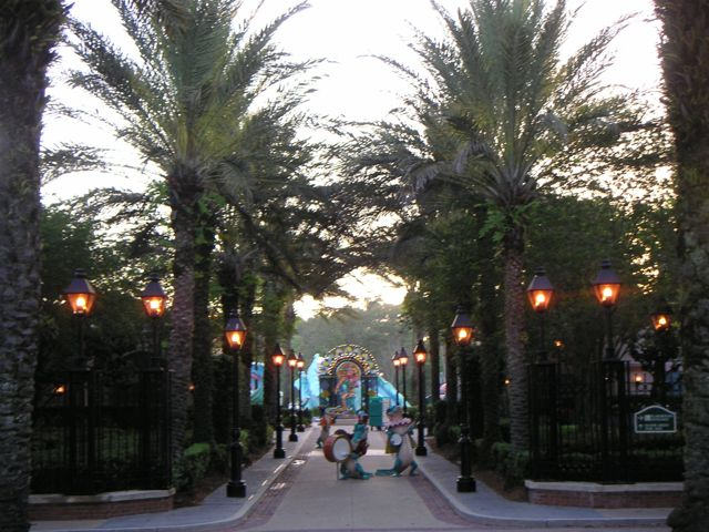 A favorite view from the lobby and Sassagoula Floatworks at Port Orleans French Quarter. This photo is from 2007! The palm trees are MUCH larger these days.