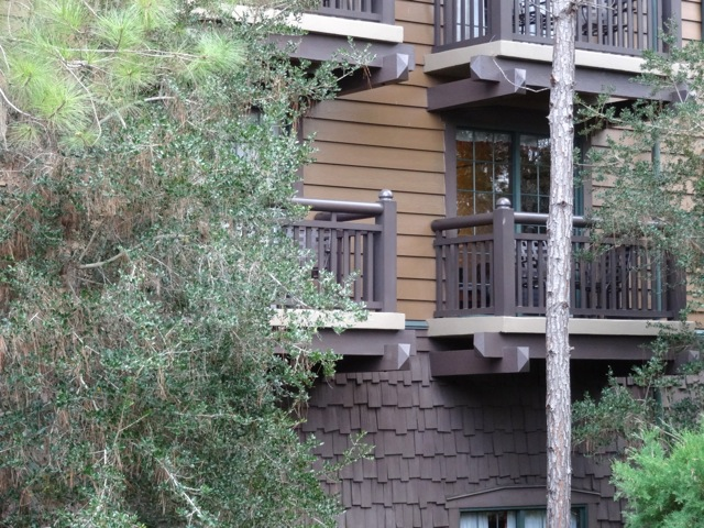 Close-up of Wilderness Lodge Villas exterior, clear view of the shingle siding and the lapboard siding.
