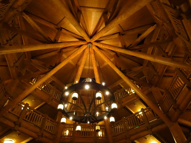 The lobby space (or atrium) at Wilderness Lodge Villas - again, we see lodge pole pine construction. This space is octagonal and emblematic of a railroad roundhouse.