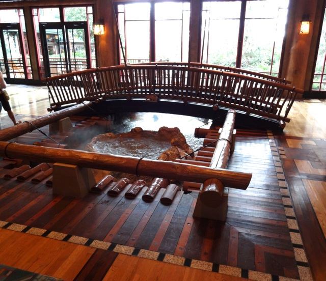 In the Wilderness Lodge Lobby, you'll find this footbridge crossing over the hot springs... The springs turn into Silver Creek which empties into the swimming pool and then flows into Bay Lake (not really!)