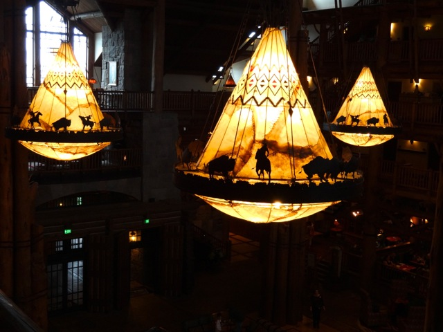 The four large light fixtures in the Wilderness Lodge lobby are based on the Phaska Hotel's light fixtures and are much larger, they're made of wrought iron and cowhide (the same light fixtures are seen in the Whispering Canyon Cafe).
