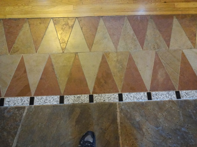 The stonework on the floor isn't just slabs of rock, it's also intricate designs much like marquetry.