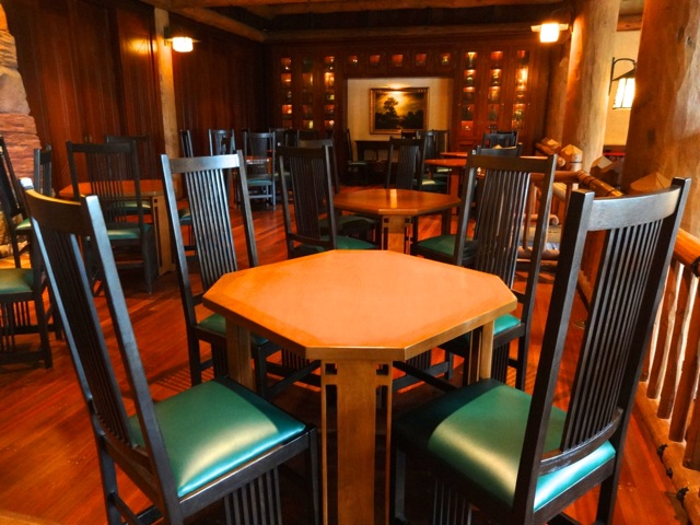 There is a quiet section attached to Whispering Canyon Cafe, this is called the library area. The furniture here is prairie-style arts-and-crafts (think Frank Lloyd Wright). The bookcases in the background contain artifacts from the grand national parks and the railroad hotels periods.