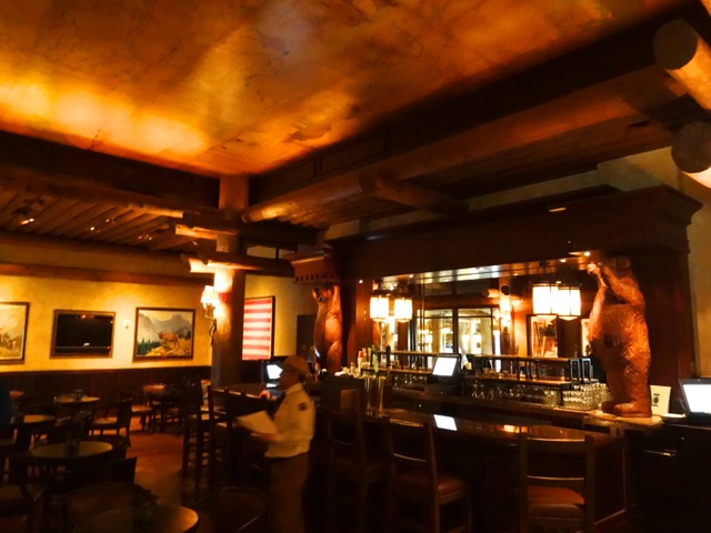 Territory Lounge is small-ish and typically dark (even with the lights on!). There are two carved bears guarding the backbar. (Sorry for the rather blurry picture of Ranger Jack)