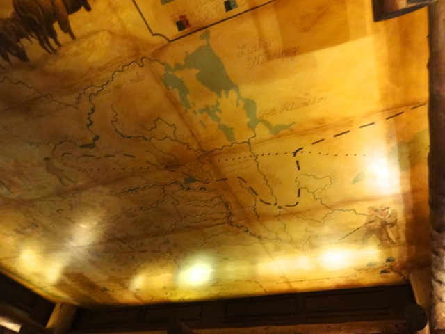 Ceiling in Territory Lounge - maps for the Lewis and Clark Expedition.