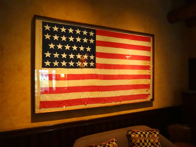 An American flag from 1861, there are 34 stars representing the states. This flag was a gift from the state of Oregon.