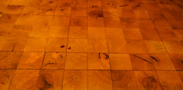 "The floor in Territory Lounge is rather unique. It's mesquite wood but is laid ""upright"" creating an interesting texture."