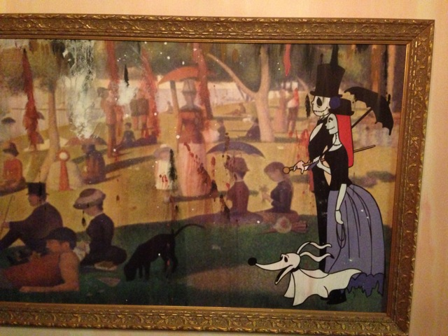 ... famous painting by Georges Seurat with Jack Skellington, Sally, and Zero the Ghost Dog...
