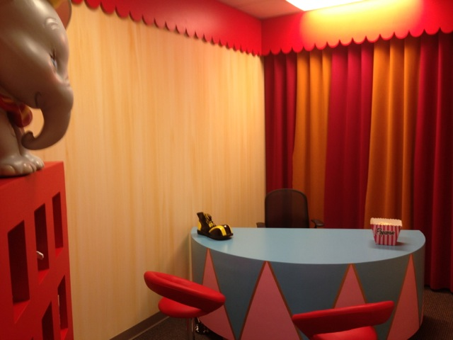 "Our other tour guide, Vicky, has the 5th office... it's themed to the movie ""Dumbo""... full on circus!"