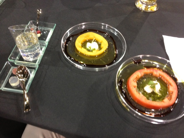 """Heirloom Tomato Disc with Micro Basil and Balsamic"""