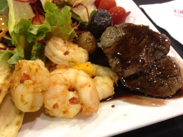 Close-up of shrimp and steak