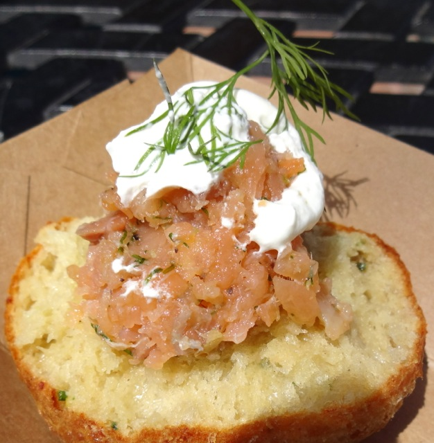 Smoked Salmon Tartare topped with Sour Cream and a tiny sprig of dill