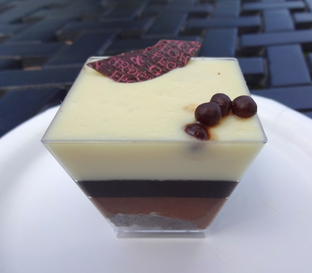 Chocolate Trifle - decorated with a chocolate sliver and chocolate pearls