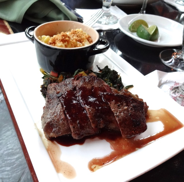 Andy's Entree - Slow Roasted Buffalo Strip Stead with Truffle Macaroni & Cheese, Rainbow Chard, and Blackberry Pinot Noir Reduction