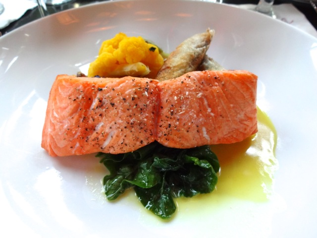 Nick's Entree - Wild Columbia River Cedar Plant-roasted King Salmon with Rainbow Cauliflower, Root Spinach, Lemon-Butter Sauce, Applewood Bacon Jam, and Short Rib Strudel