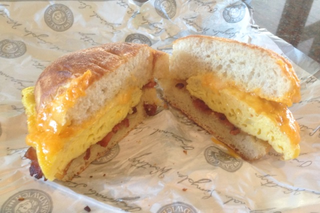 Bacon, Egg and Cheddar Breakfast Sandwich at Earl of Sandwich June 2013 - 1