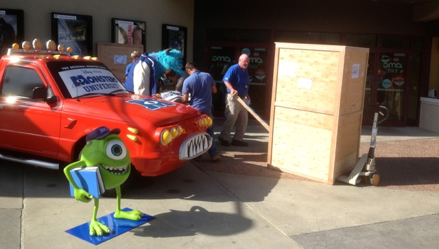 Monster's University Opening day at Downtown Disney - Sulley is brought out of his crate - 1