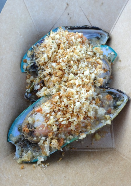 New Zealand - Green Lip Mussels topped with bread crumbs