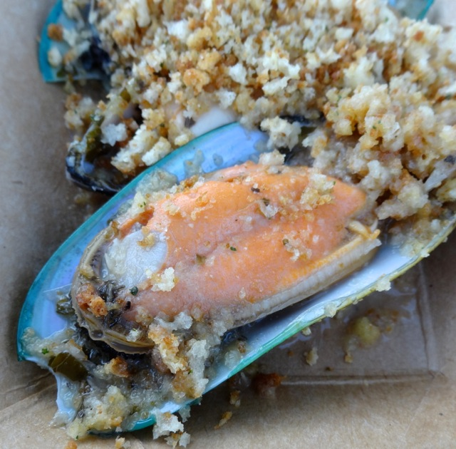 New Zealand - Green Lip Mussels, we scraped the bread crumbs off so that you could see the mussels