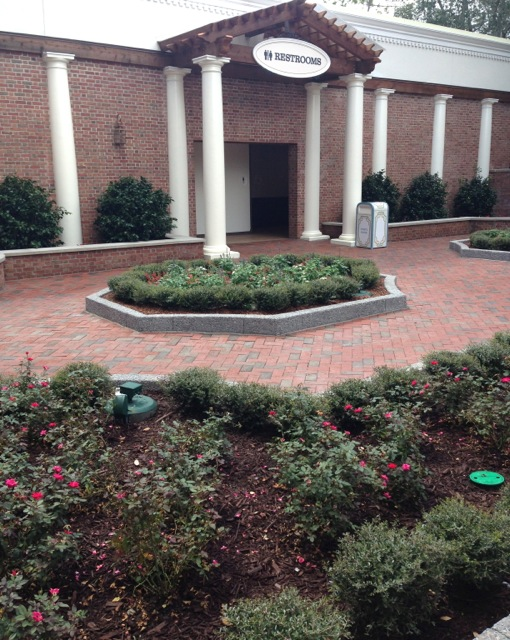 """There is a small """"garden"""" area in front of the new restrooms. This area has been planted/gardened for quite a while."""