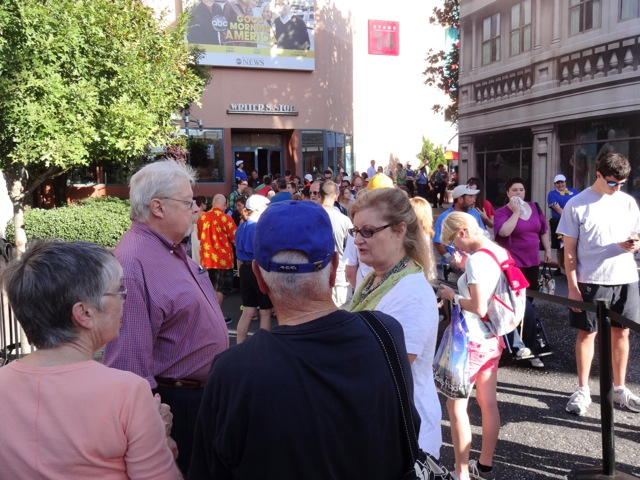 The line in front of us was to enter Writer's Stop (we were about 35th in line). The line to our right was people waiting to purchase a book so that they could get in the line we're in.