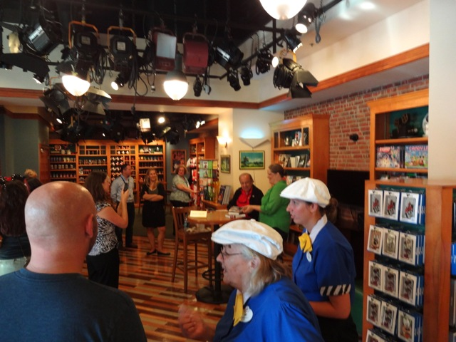 Waiting inside Writer's Stop for my turn. The Cast Member in the foreground was totally shocked when nick said that he was just here to take photos, that he didn't really want to talk to Marty (ha ha ha!)