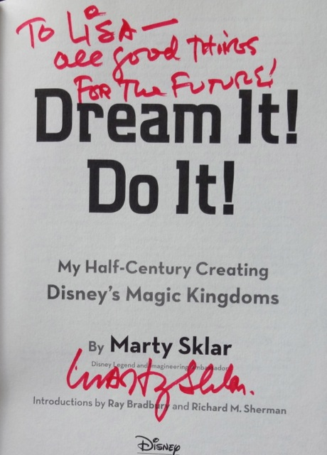 We got a copy of the book for our friend, Lisa. I met her through a newsgroup (rec.arts.disney.parks) quite a while back, we met face-to-face in 2009 (I think). She's a great friend and it's all because of Disney World!