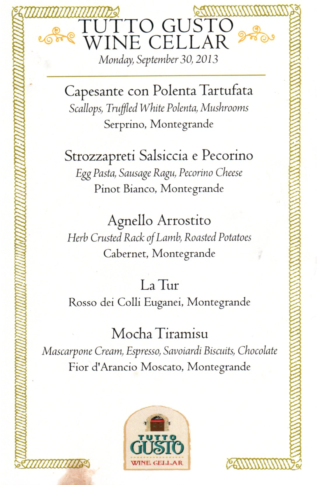 Menu (I don't expect it to change throughout the Food & Wine Festival)