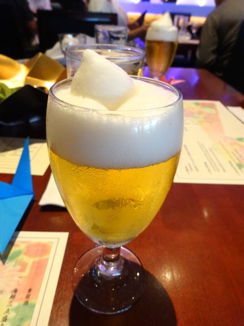 we began the meal with frozen beer Ichiban Shibori (we had this last year)...