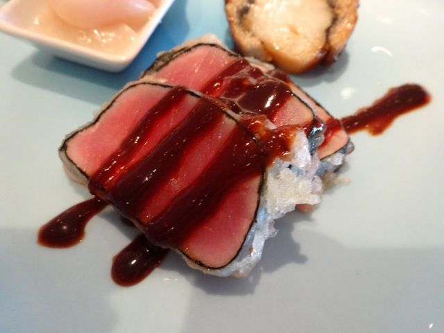 the rare tuna was good, firm and meaty, quite nice