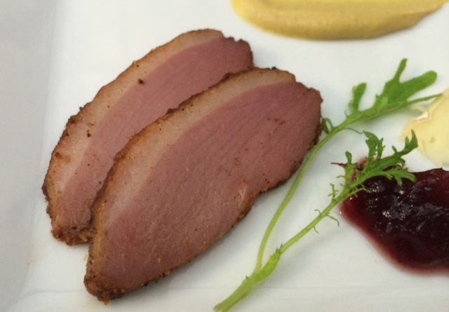 I thought that the pastrami made the Pinot Noir taste a bit of anise. Nick preferred the mustard on the duck - he had a point, it was a better flavor profile.