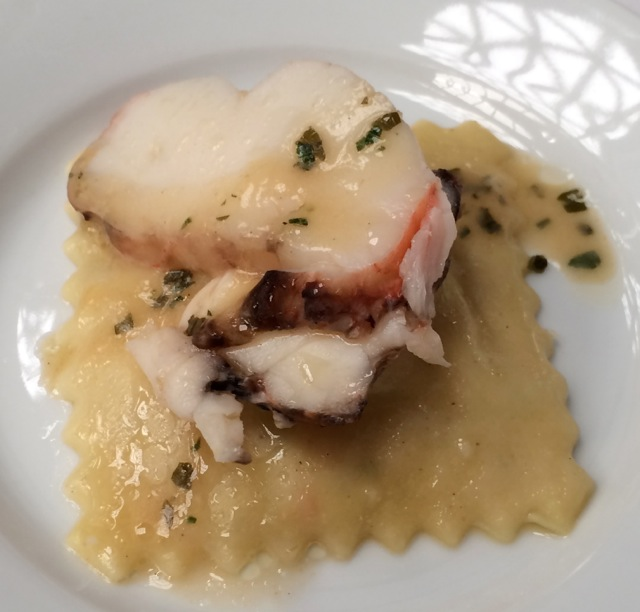 Butter Poached Lobster Ravioli with White Wine Butter Sauce