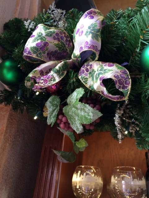 the swags in the wine room included grapes and wine themed ribbon