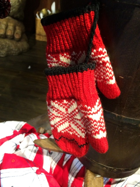 a pair of mittens with a snowflake motif
