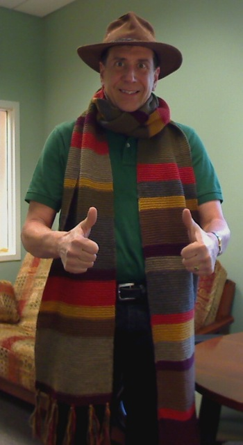 Asta models his Doctor Who scarf