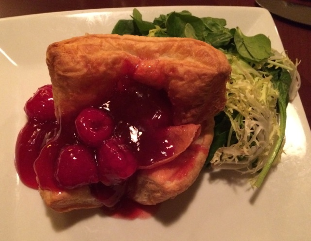Baked Brie with Prociutto and Raspberry Preserves (quoted from menu)