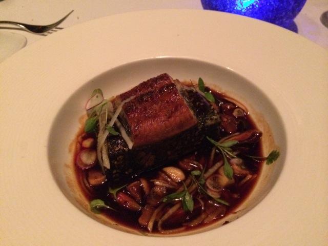 Ahi Tuna - benne seed rub, fresh water eel, braised shiitake mushrooms, daikon